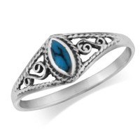 MIMI 925 Sterling Silver Turquoise Filigree Ring
