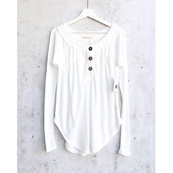 Free People - Must Have Waffle-Knit Henley Tee - Ivory