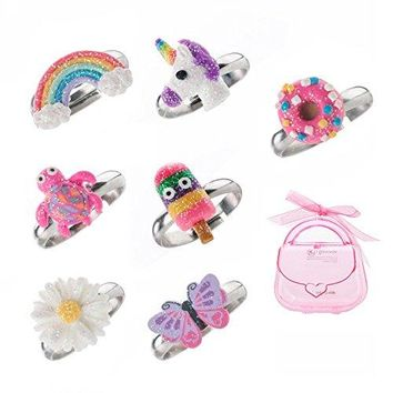 AUGUAU Adjustable Rings Set for Little Girls - Colorful Cute Unicorn, Butterfly Rings for Kids Made of Polymer Clay, Children's Jewelry Set of 7