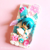 Custom Kawaii Decoden Vocaloid Hatsune Miku, Rin Luka Kawaii phone case for iPhone 4/4s, 5, samsung galaxy S2 S3 S4, Ipod Touch