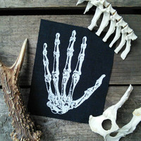 Occult patch - hand bone patch - skeleton, punk patch, goth patch, pagan patches, witch, sew on patch, horror patch, Gothic, skull, pagan