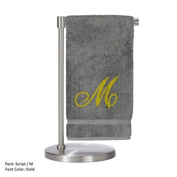 Monogrammed Bath Towel, Personalized Gift, 27 x 54 Inches - Set of 2 - Gold Script Embroidered Towel - 100% Turkish Cotton - Soft Terry Finish - For Bathroom, or Spa - Script M Gray Towels