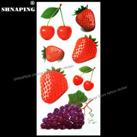 SHNAPIGN Cherry Strawberry 3D Temporary Tattoo Body Art Flash Tattoo Stickers 19*9cm Waterproof Styling Tatoo Home Decor Sticker