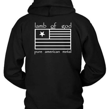 Lamb Of God Pure American Metal Flag Hoodie Two Sided