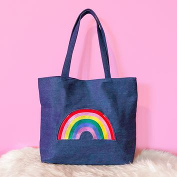 Rainbow Pocket Denim Tote Bag