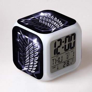 Cool Attack on Titan Japan Manga  Watch Desktop Decoration LED Alarm Clock Colorful Changing Touch Light Amine Figurine Kids Toys AT_90_11
