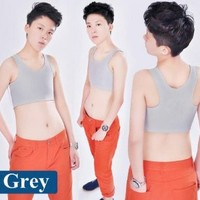 Les Lesbian Tomboy Short Vest Chest Binder Tops (XL, Grey)