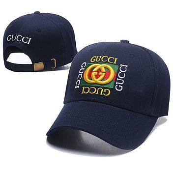 GUCCI Fashion New Embroidery Letter Stripe Sun Protection Women Men Cap Hat Dark Blue