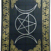 Triple Moon with Pentacle - Black and Gold - Tapestry