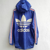 Blue Striped nylon ADIDAS Run Dmc TREFOIL 3 Stripes Back Logo Big Log Hip Hop training fits size L Hoodie Jacket Nylon Descente