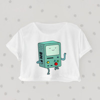 Beemo Happy Dance printed Midriff Cropped Blouse. Street-Style Fashion - teenage - crop - Teen Girl - Casual wear