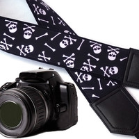 Black and white Sugar skulls camera strap. Halloween camera strap. DSLR / SLR Camera Strap. Camera accessories for Nikon, Canon, Sony, Fuji
