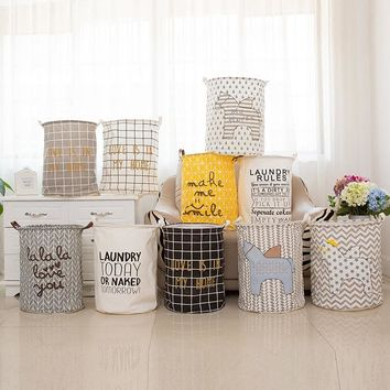 Large 40*50cm Folding Laundry Basket Cartoon Stripe Storage Barrel Cotton Linen Dirty Clothes Basket Toys Storage Basket/Bucket