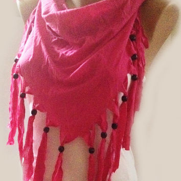 ON SALE - Pink Scarf - Infinity Scarfs - Fashion Scarf - Chunky Jersey Scarf - Shawl - Mexican Style - Beaded Scarf
