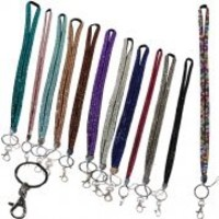 Leegoal Rhinestone Crystal Bling Badge Id Holder Key Lanyard (Random Color)