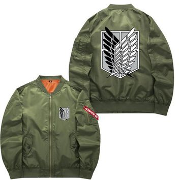 Trendy Winter Jacket US Size Mens Coat Attack on Titan Mikasa Cosplay Hoodie Zipper  Winter Thicken Flying Suit Outerwear for Unisex AT_92_12