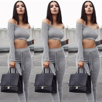 Two Piece Set Womens Tracksuit Sexy Off Shoulder Long Sleeve Tops + Long Pants Set Joggers 2Pcs Clothing Suit