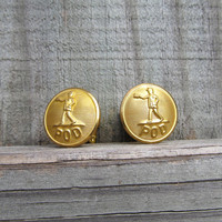 Vintage Brass Button Cuff Links - POD Post Office - Men's Jewelry, retro