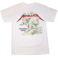 Men's Rock T-Shirt - Metallica Justice Chrome Statue
