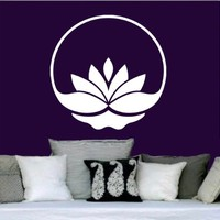 Lotus Flower Wall Decal Vinyl Sticker Decals Yoga Mandala Namaste Indian Ornament Moroccan Pattern Om Home Decor Bedroom Art Design Interior NS326