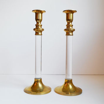 Vintage Brass Candlesticks Brass and Lucite Candle Holders Set of 2 Chunky Lucite Candlesticks Wedding Candles Christmas Candle Holders