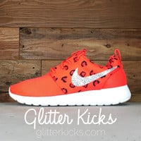 Women's Nike Roshe One Print Casual Shoes By Glitter Kicks - Customized With Swarovski Crystal Rhinestones - Red/Black Leopard Print