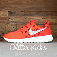 Nike Roshe One Customized by Glitter Kicks - Red/Black Leopard Print
