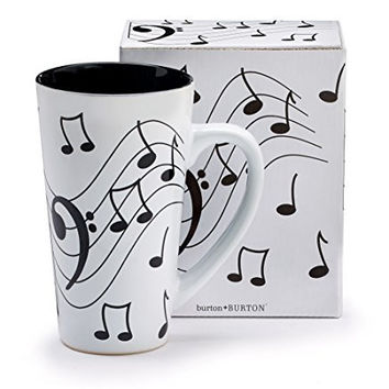 Burton & Burton Musical Note Jazz Ceramic Coffee/Tea Travel Mug Bass Clef, 16 oz