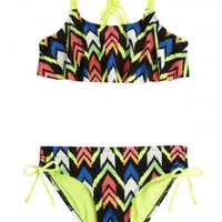 Chevron Flounce Bikini Swimsuit