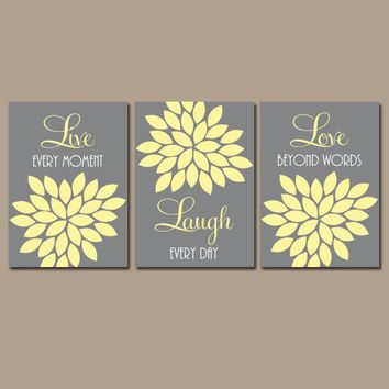 Live Laugh Love Wall Art, Yellow Gray Nursery Art, CANVAS or Print, Love Quote Art, Flower Petals, Bedroom Art, Bathroom Decor, Set of 3