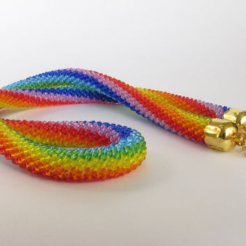 FREE SHIPPING Rope Necklace  Bead Embroidery  Rainbow Necklace  Bead crochet  Cross-stitching