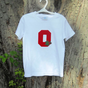 Ohio State Boys Tee Shirt Block O With Leaves Buckeye Organic Cotton Long or Short Sleeve Birthday Gift Made To Order