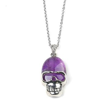 Natural quartz crystal Skull Head Pendant necklace jewelry