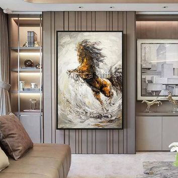Original horse Abstract Animal Paintings acrylic painting on canvas wall art Palette knife painting on canvas Home Decor cuadros abstractos