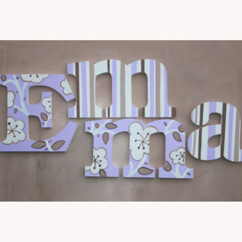 Hand Painted Lilac Flowers Wooden Wall Name Letters / Hangings for Girls Rooms, Play Rooms and Nursery Rooms