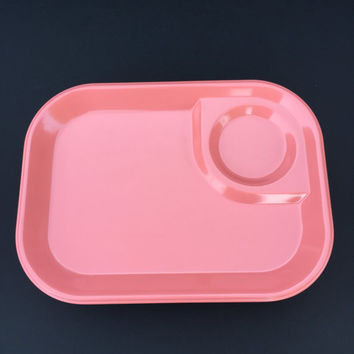 Nine Vintage RubbermaId Melamine Pink Snack Trays/Cafeteria Trays/Food Trays/TV Trays/Daycare School Trays/Camping or Picnic/Free Shipping
