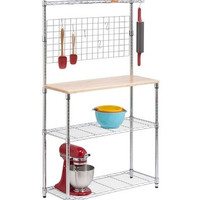 Bakers Rack With Storage, Chrome and Wood Cutting Board