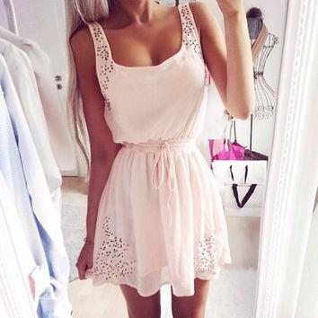 Simple Hollow Out White Strappy Crochet Mini Dress