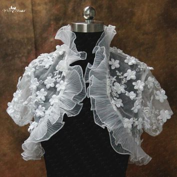 RSJ110 Organza Ruffles Collar Edged Flower Girl Bolero Jacket