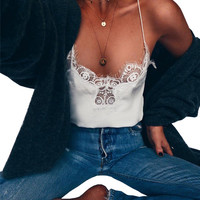 Women Sexy faux silk Vest crop Tops lace Black v Neck  Sleeveless Tank Tops Shirt ladies satin Camisole Bottom Tee shirt white