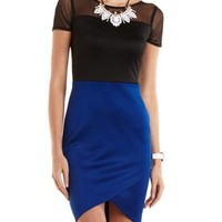Mesh Yoke Color Block Bodycon Dress by Charlotte Russe