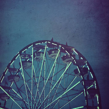 Carnival Art, 5x7 Print, Architecture Photography, Jewel Tones, Ferris Wheel, Home Decor, Wall Art, Blue, Purple, Dreamy Photography