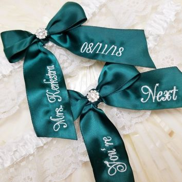 Forest Green Personalized You're Next Bridal Garter