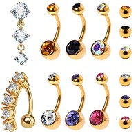 BodyJ4You 8PC Belly Button Rings 14G CZ Crystal Reverse Dangle Stainless Steel Navel Piercing Jewelry Set