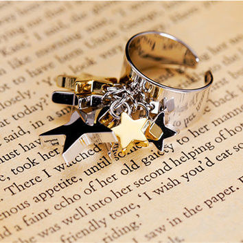 Rings Jewelry 18K Gold Ring Jewelry Textured metal star pendant pentacle ring