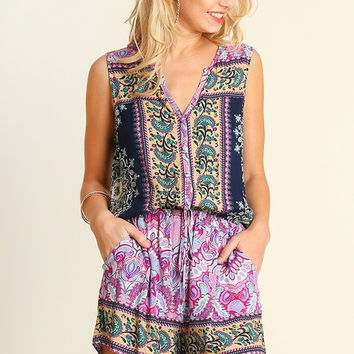 Music in the Park Romper - Berry