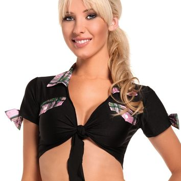 School Girls BW1016BPK Black Top With Pink Plaid Trim Costume - Be Wicked