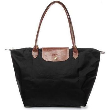 Longchamp Le Pliage Shopping Tote Bag Noir Black/Brown