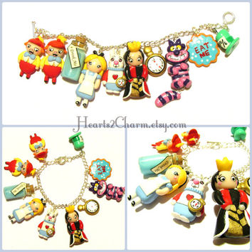 Disney's Alice In Wonderland inspired Charm Bracelet. Polymer Clay Handmade charm bracelet of Alice and memorable characters from the movie