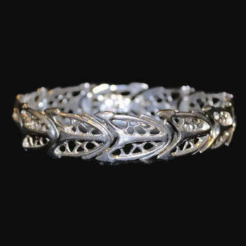 Sterling Silver Art Deco Link Bracelet, Cathedral Window Design